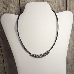 Lia Sophia silver bar necklace with flower accents